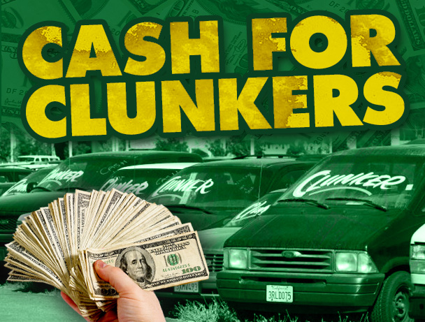cash for clunkers The car allowance rebate system (cars), colloquially known as cash for clunkers, was a $3 billion us federal scrappage program intended to provide economic incentives to us residents to purchase a new, more fuel-efficient vehicle when trading in a less fuel-efficient vehicle.